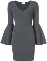 Milly flared sleeve fitted dress - women - Polyester/Spandex/Elastane/Viscose - 0