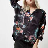 River Island Womens Petite black oriental print oversized shirt