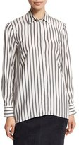 Brunello Cucinelli Striped Long-Sleeve Blouse, Onyx