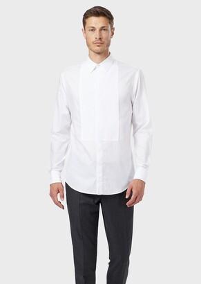 Giorgio Armani Slim-Fit, Pleated-Bib, Poplin Tuxedo Shirt