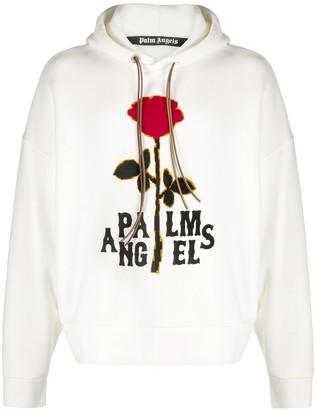 Palm Angels Rose-Print Cotton Hoodie