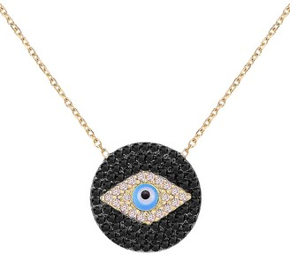 GABIRIELLE JEWELRY Love and Protection 14K Yellow Gold Vermeil Cubic Zirconia Evil Eye Pendant Necklace
