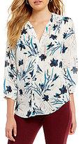 NYDJ Mandarin Collar 3/4 Sleeve Pintuck Floral Print Blouse