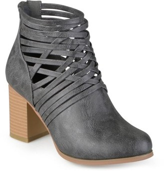 Brinley Co. Women's Chunky Heel Strappy Round Toe Booties