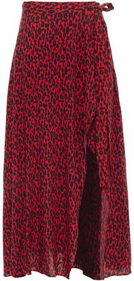 IRO Tanaka Leopard-print Voile Midi Wrap Skirt
