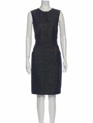 Derek Lam Crew Neck Knee-Length Dress Blue
