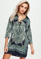 Missguided Navy Long Sleeve Scarf Print Shirt Dress, Green