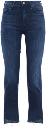 Mother The Rascal Frayed High-rise Slim-leg Jeans