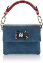 Dolce & Gabbana Crystal Embellished Suede Top Handle Bag