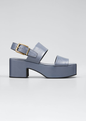 Dries Van Noten Flatform Leather Block-Heel Sandals