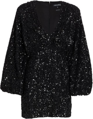 retrofete Aubrielle Sequin Puff-Sleeve Mini Dress