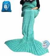 "LAGHCAT Mermaid Tail Blanket Knit Crochet and Mermaid Blanket for Adult,Sleeping Blanket (71""x35.5"", lovely-green)"