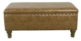 HomePop Large Storage Bench with Nailhead Trim