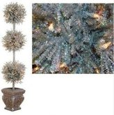 Sterling 5' Pre-Lit Silver Tinsel Triple Ball Potted Topiary Tree - Clear Lights
