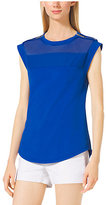 Michael Kors Sleeveless Sheer-Panel Jersey Top