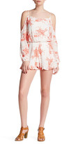 Peach Love Cream Cold Shoulder Floral Embroidered Romper