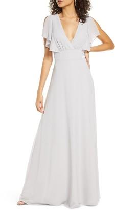 Lulus Dearly Loved Flutter Sleeve Georgette Gown