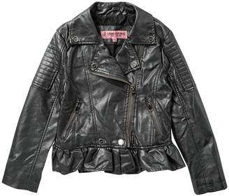 Urban Republic Metallic Faux Leather Moto Jacket (Big Girls)