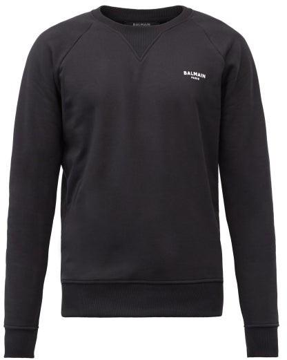 Balmain Flocked-logo Cotton-jersey Sweatshirt - Black