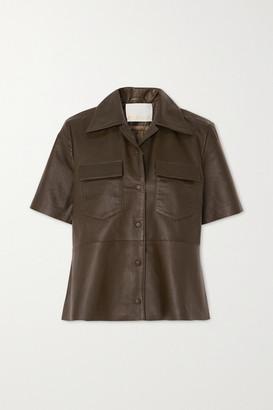 REMAIN Birger Christensen Siena Leather Shirt - Army green