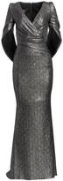Talbot Runhof Glitter Sequin Eternity-Sleeve Mermaid Gown
