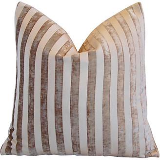 One Kings Lane Vintage French Velvet Striped Pillow