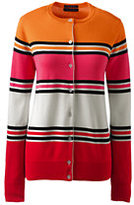 Lands' End Women's Tall Classic Supima Stripe Cardigan Sweater-Ivory Multi Stripe