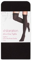 Xhilaration Women's All in One Sheer Tights & Over the Knee Socks Black