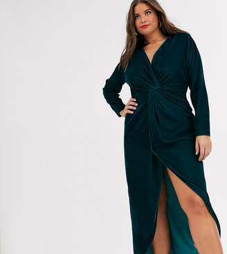 ASOS DESIGN Curve long sleeve maxi dress with knot front bodice in velvet