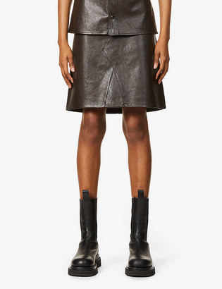 Bottega Veneta A-line high-waist leather mini skirt
