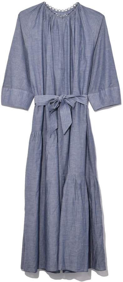 Apiece Apart Stella Shirred Tiers Dress in Chambray