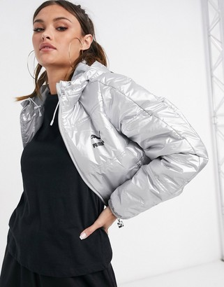 Puma cropped padded jacket in silver