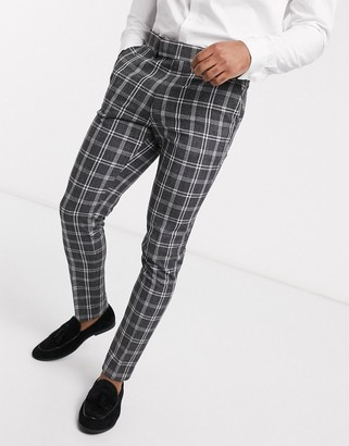 ASOS DESIGN wedding super skinny suit trousers in grey marl check