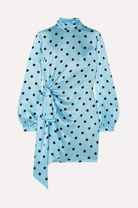 Raquel Diniz Barbara Draped Polka-dot Silk-satin Mini Dress - Blue