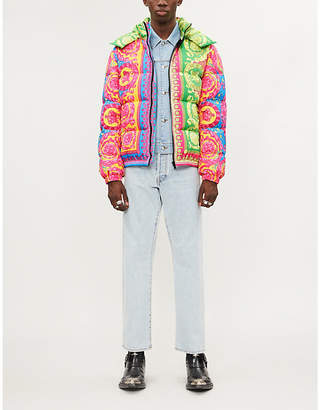Versace Baroque-print padded shell-down puffer jacket