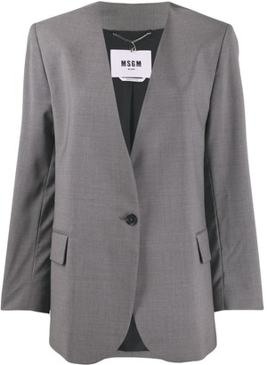 MSGM Collarless Single-Breasted Blazer