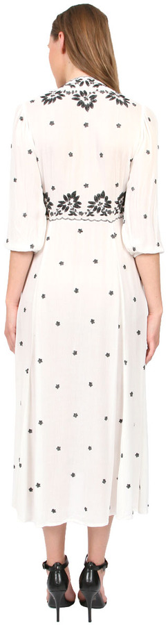 Free People Embroidered V-Neck Dress in Cream Combo