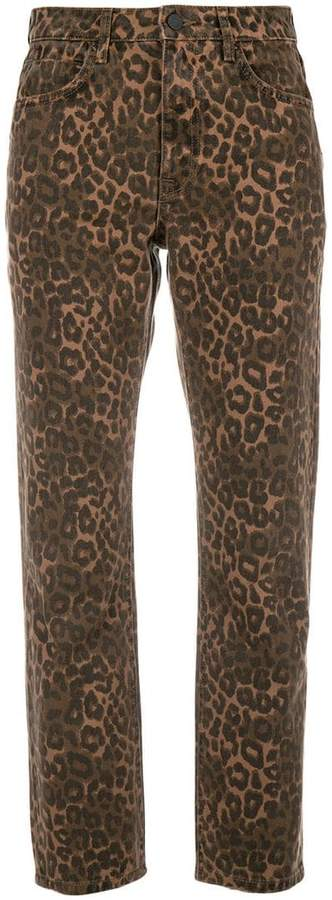 Alexander Wang x Denim leopard print cropped jeans