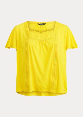 Ralph Lauren Jersey Flutter-Sleeve Top