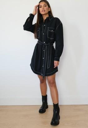 Missguided Tall Black Oversized Contrast Stitch Denim Shirt Dress
