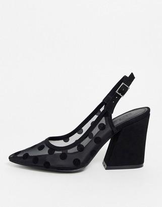 Sukie Asos Design ASOS DESIGN slingback heels in black polka dot