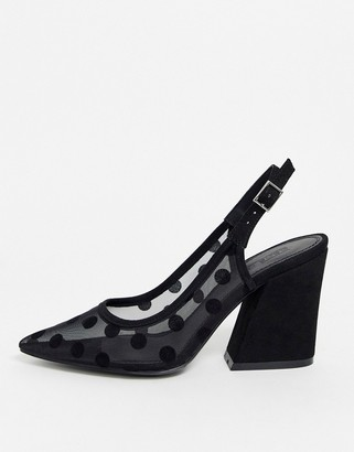 ASOS DESIGN Sukie slingback heels in black polka dot