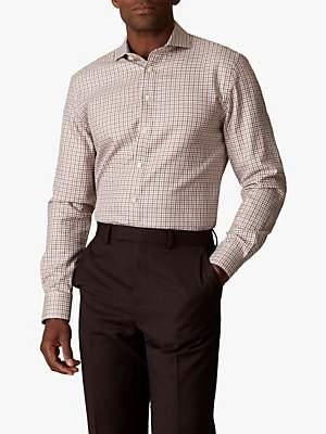 Jaeger Cotton Check Slim Fit Shirt, Rust