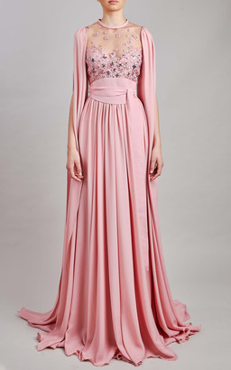 Elie Saab Tulle Embroidery And Silk Chiffon Maxi Dress