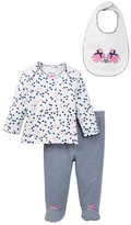Little Me Hearts Lapel Top, Footed Pant, & Bunny Bib Set (Baby Girls)