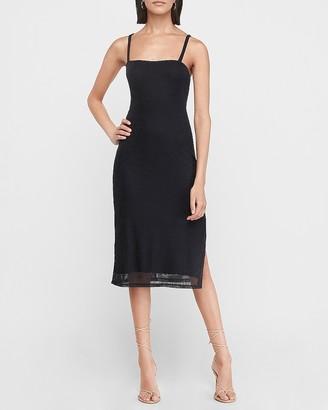 Express Square Neck Ribbed Midi Dress