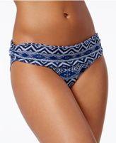 LaBlanca La Blanca Indigo Printed Shirred Hipster Bikini Bottoms