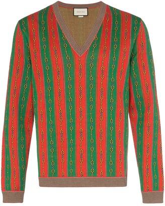 Gucci Horsebit Chain print v-neck sweater