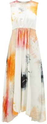 Roksanda Nysa Gathered Printed Silk-satin Dress - Orange