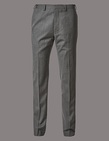 Autograph Grey Textured Tailored Fit Wool Trousers
